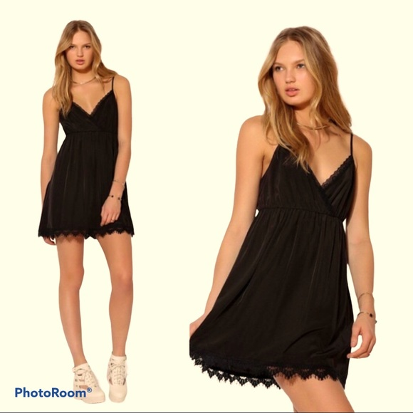 COPE Black Mini Slip Babydoll Dress with Lace